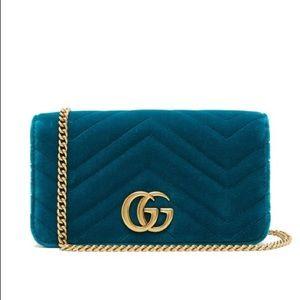 NEW GUCCI Marmont GG velvet mini bag Teal